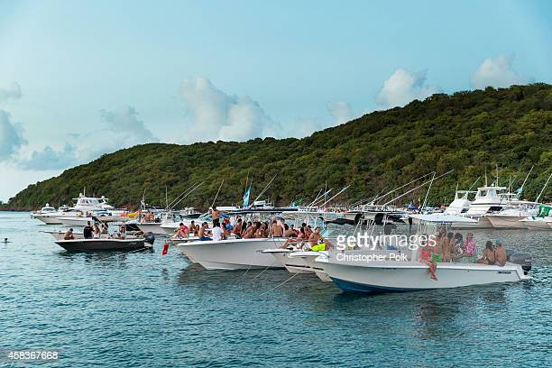 Boats surround the island during the Bacardi Triangle event on November 1 2014 in Fajardo Puerto Rico The event saw 1862 music fans take on one of...