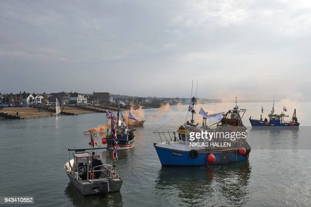 Boats take part in a demonstration in Whitstable southeast England on April 8 2018 against the Brexit transition deal that would see Britain continue...