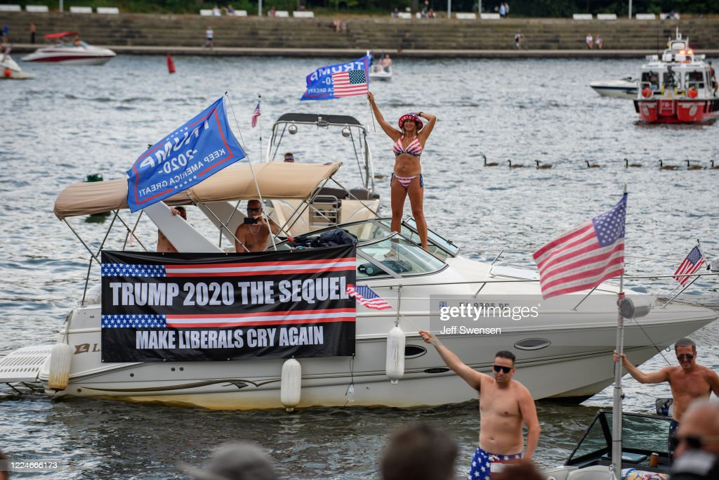 Trump Supporters Hold Boat Parade And MAGA Rally in Pittsburgh On 4th Of July : News Photo