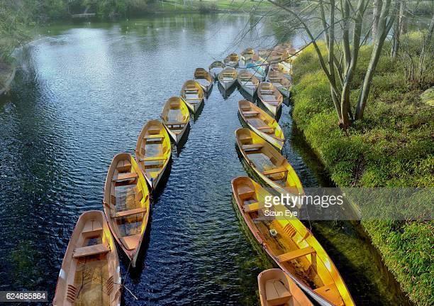 Boats wintering in rows in the Bois de Boulogne near Paris, France