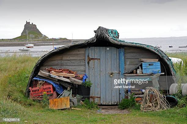 Boatshed storage on Lindisfarne, also known as Holy Island, in Northumberland