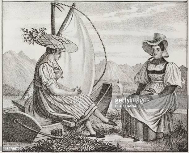 Boatwoman from Zug and woman from Neuchatel, Switzerland, lithograph, from Galleria universale di tutti i popoli del mondo, ossia storia dei costumi,...