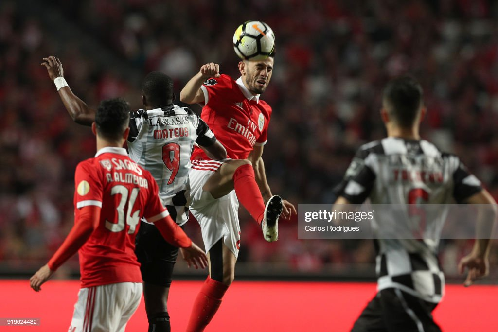Boavista FC forward Mateus from Angola (L) vies with SL Benfica forward Pizzi from Portugal (R) for the ball possession during the Portuguese Primeira Liga match between SL Benfica and Boavista FC at Estadio da Luz on February 17, 2018 in Lisbon, Lisboa.