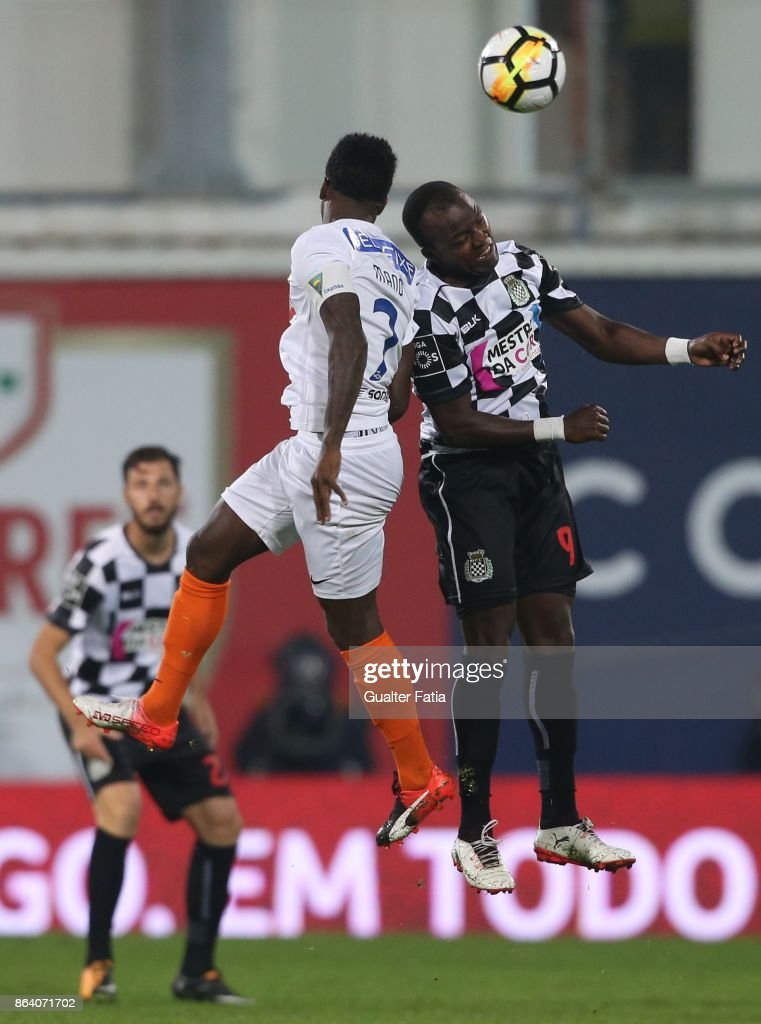 Boavista FC forward Mateus from Angola with GD Estoril Praia defender Mano from Portugal in action during the Primeira Liga match between GD Estoril Praia and Boavista FC at Estadio Antonio Coimbra da Mota on October 20, 2017 in Estoril, Portugal.