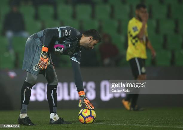 Boavista FC goalkeeper Vagner from Brazil in action during the Primeira Liga match between Rio Ave FC and Boavista FC at Estadio dos Arcos on January...