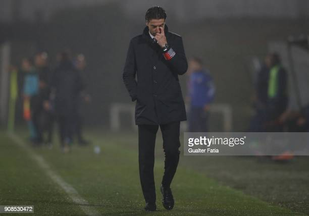 Boavista FC head coach Jorge Simao from Portugal in action during the Primeira Liga match between Rio Ave FC and Boavista FC at Estadio dos Arcos on...