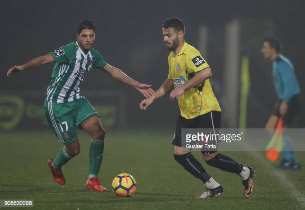 Boavista FC midfielder Carraca from Portugal with Rio Ave FC midfielder Joao Novais from Portugal in action during the Primeira Liga match between...