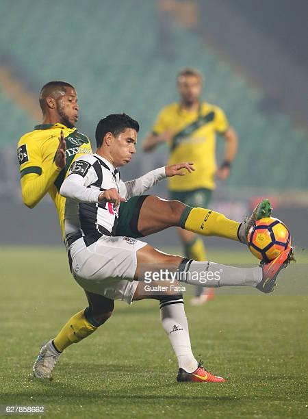 Boavista FCÕs forward Renato Santos with Pacos Ferreira's midfielder Bruno Santos from Brazil in action during the Primeira Liga match between Pacos...