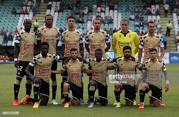 Boavista FC's players pose for a team photograph during the Primeira Liga match between Vitoria Setubal and Boavista FC at Estadio do Bonfim on...