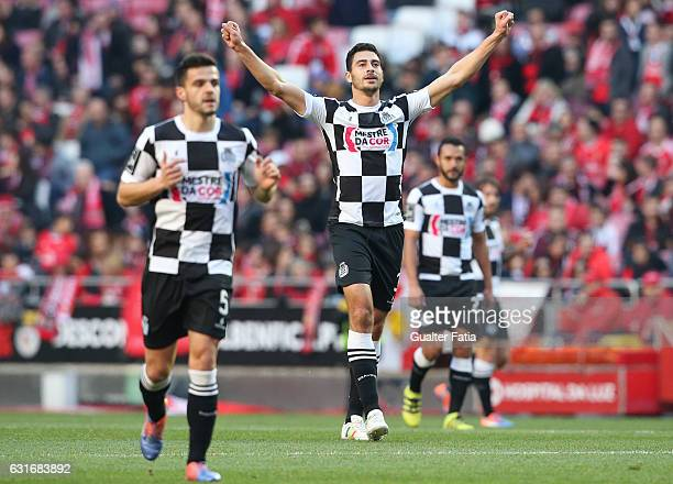 Boavista's defender Lucas Tagliapietra from Brazil celebrates after teammate Boavista's midfielder Andre Schembri from Malta scored a goal during the...