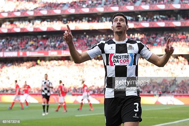 Boavista's defender Lucas Tagliapietra from Brazil celebrates scoring Boavista second goal during the match between SL Benfica and Boavista FC for...