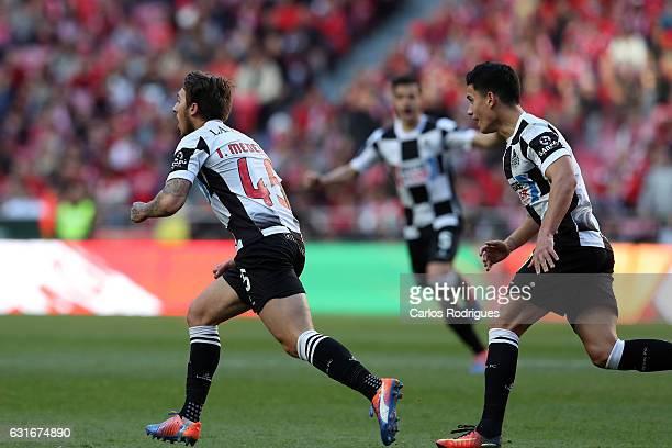 Boavista's forward Iuri Medeiros from Portugal celebrates scoring Boavista first goal during the match between SL Benfica and Boavista FC for the...