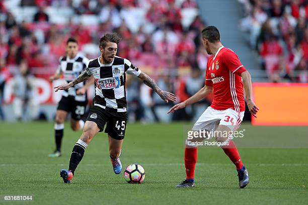 Boavista's forward Iuri Medeiros from Portugal vies with Benfica's defender Andre Almeida from Portugal during the match between SL Benfica and...