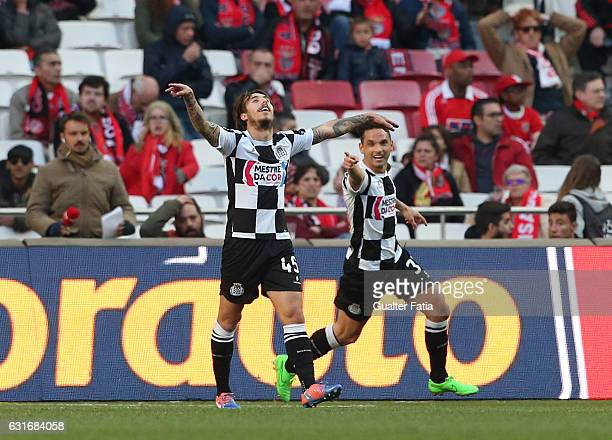 Boavista's forward Luri Medeiros from Portugal celebrates after teammate Boavista's midfielder Andre Schembri from Malta scored a goal during the...