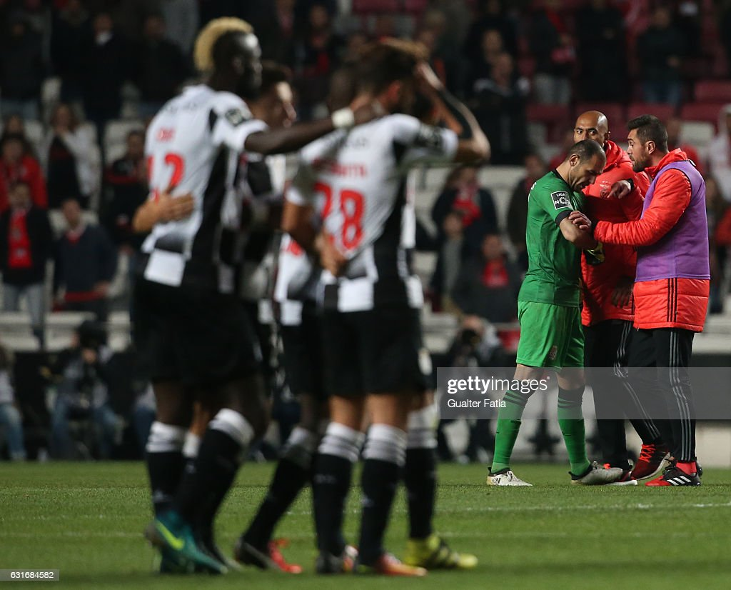Boavista's goalkeeper Kamran Agayev from Arzebaijan with SL Benfica's defender from Brazil Jardel and SL Benfica's defender from Brazil Luisao at the end of the Primeira Liga match between SL Benfica and Rio Ave FC at Estadio da Luz on January 14, 2017 in Lisbon, Portugal.