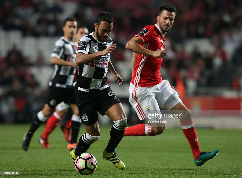 Boavista's midfielder Anderson Carvalho from Brazil with SL Benfica's midfielder from Greece Andreas Samaris in action during the Primeira Liga match between SL Benfica and Rio Ave FC at Estadio da Luz on January 14, 2017 in Lisbon, Portugal.
