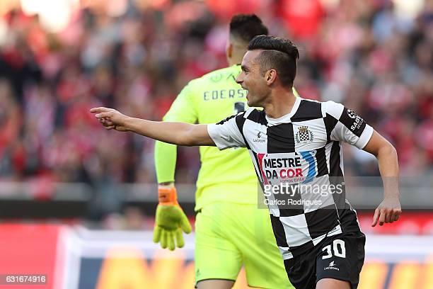 Boavista's midfielder Andre Schembri from Malta celebrates scoring Boavista third goal during the match between SL Benfica and Boavista FC for the...