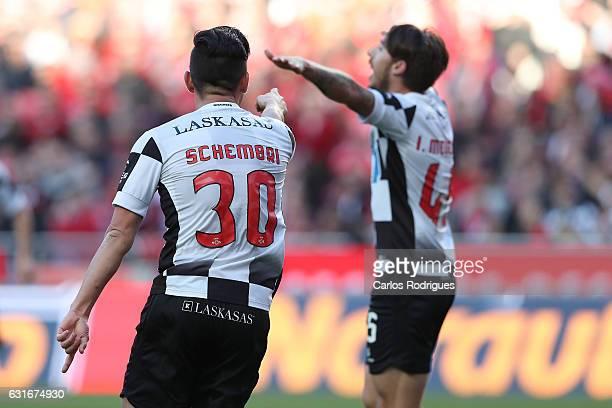 Boavista's midfielder Andre Schembri from Malta celebrates scoring Boavista third goal with Boavista's forward Iuri Medeiros from Portugal during the...
