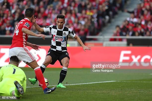 Boavista's midfielder Andre Schembri from Malta scores Boavista third goal during the match between SL Benfica and Boavista FC for the Portuguese...