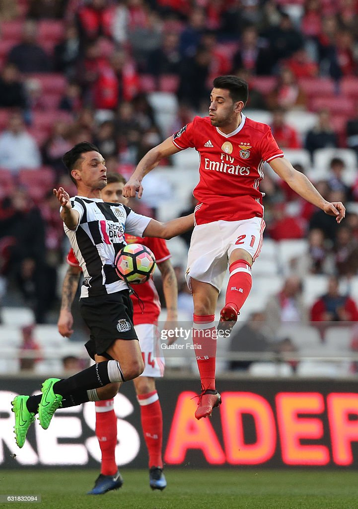 Boavista's midfielder Andre Schembri from Malta (L) with SL Benfica's midfielder Pizzi (R) in action during the Primeira Liga match between SL Benfica and Rio Ave FC at Estadio da Luz on January 14, 2017 in Lisbon, Portugal.