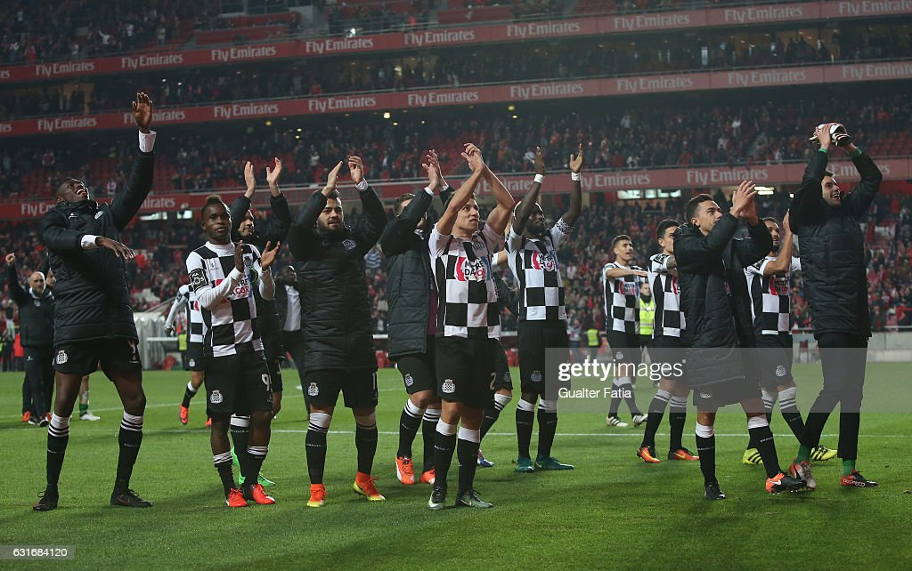 Boavista's players celebrate the draw at the end of the Primeira Liga match between SL Benfica and Rio Ave FC at Estadio da Luz on January 14, 2017 in Lisbon, Portugal.