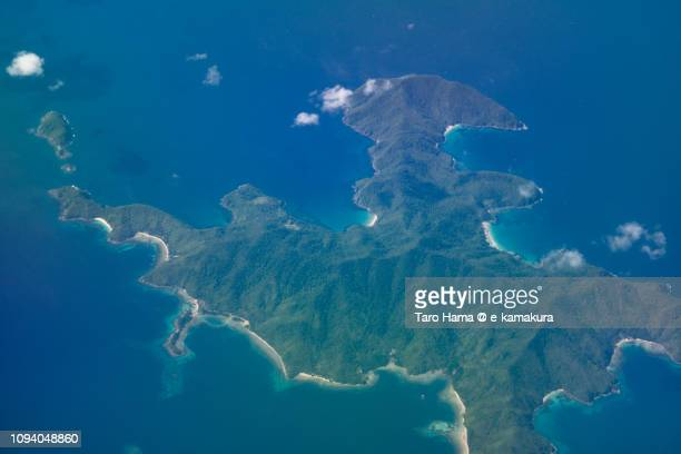 Boayan Island in San Vicente in Province of Palawan in Philippines daytime aerial view from airplane daytime aerial view from airplane