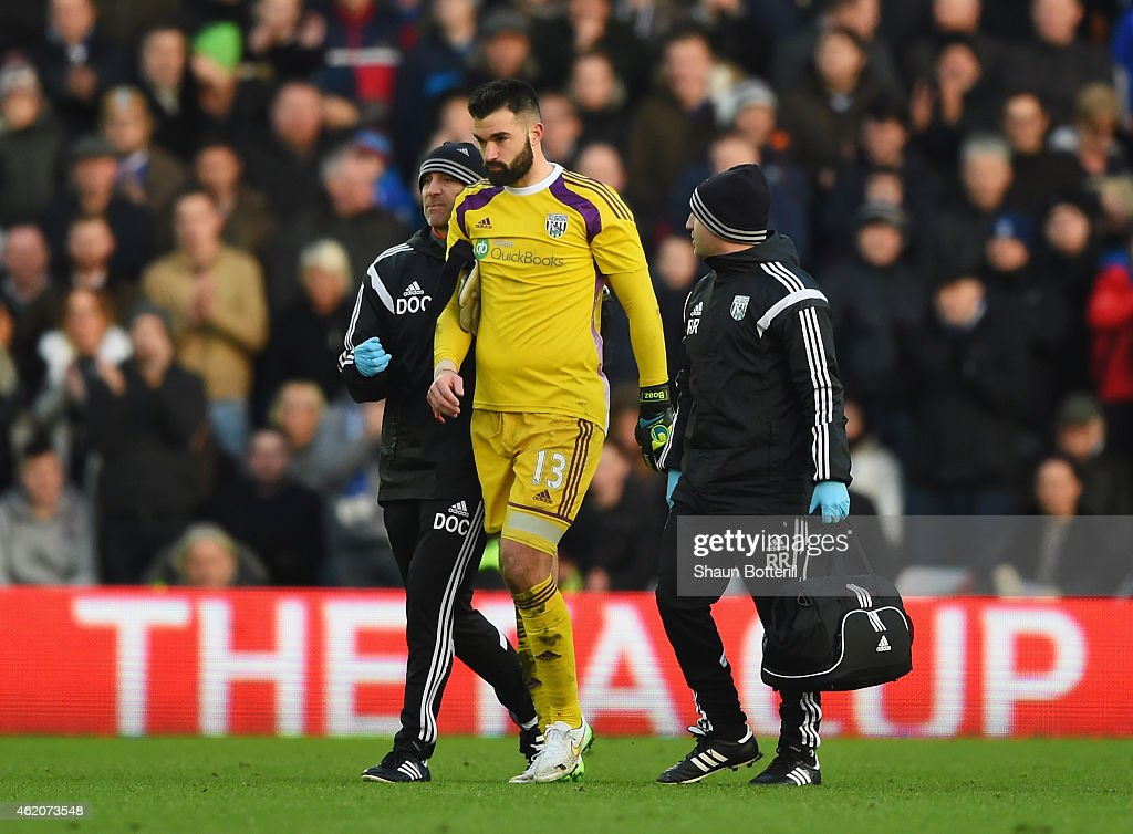Boaz Myhill of West Brom leaves the field injured during the FA Cup Fourth Round match between Birmingham City and West Bromwich Albion at St Andrews on January 24, 2015 in Birmingham, England.