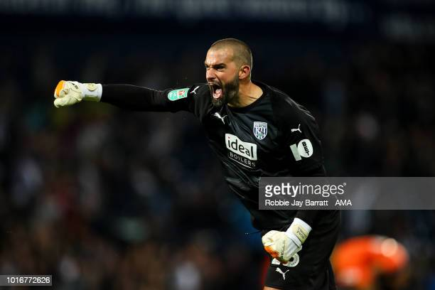 Boaz Myhill of West Bromwich Albion celebrates after the first goal during the Carabao Cup First Round match between West Bromwich Albion and Luton...