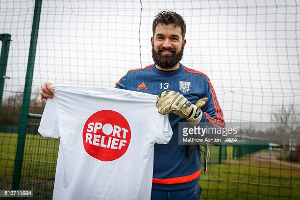 Boaz Myhill of West Bromwich Albion with a Sport Relief Tshirt during the West Bromwich Albion training session on March 4 2016 in West Bromwich...