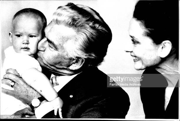 Bob and Audery Hepburn at the Kirrilibi House...Bob Kisses his grand son Benjmen Pieters....Audrey Hepburn, here to publicise the plight of starving...