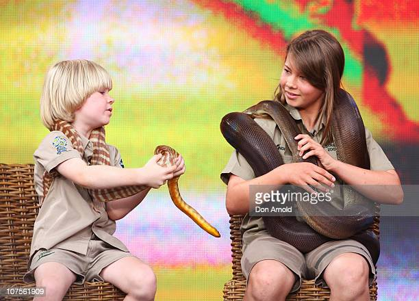 Bob and Bindi Irwin look out from the set during the first taping of the 'Oprah Winfrey Show' at the on December 14 2010 in Sydney Australia 12000...