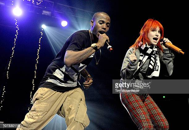O.B and Hayley Williams of Paramore perform as part of 107.9 The End Jingle Ball 2010 at Arco Arena on December 3, 2010 in Sacramento, California.
