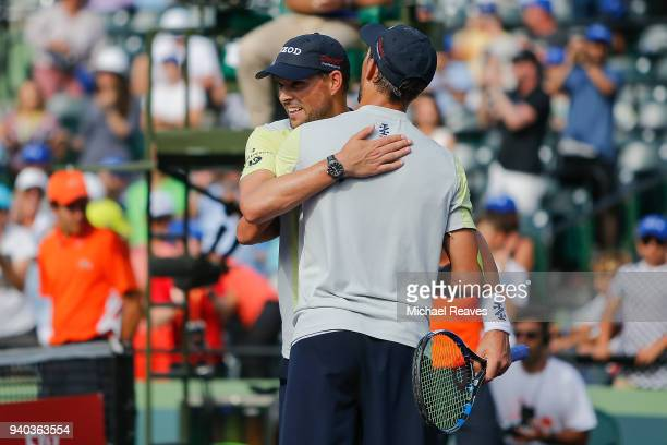 Bob and Mike Bryan celebrate after defeating Karen Khachanov and Andrey Rublev of Russia during the men's doubles final on Day 13 of the Miami Open...