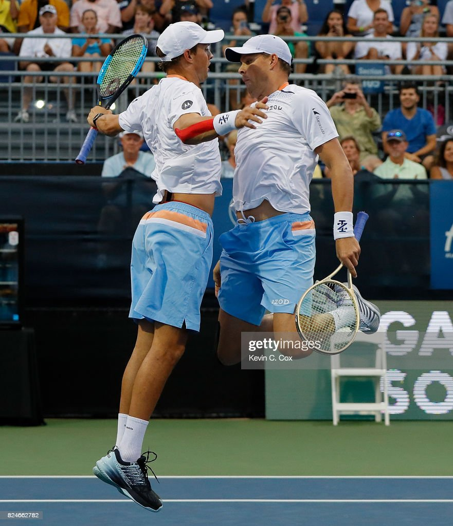 Bob and Mike Bryan celebrate after defeating the Wesley Koolhof of the Netherlands and Artem Sitak of New Zealand during the BB&T Atlanta Open at Atlantic Station on July 30, 2017 in Atlanta, Georgia.