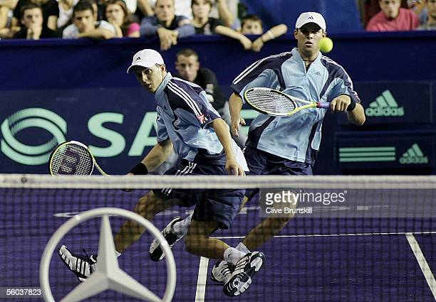 Bob and Mike Bryan of the USA in action against Arnaud Clement and Sebastien Grosjean of France in their first round match,during the BNP Paribas ATP...
