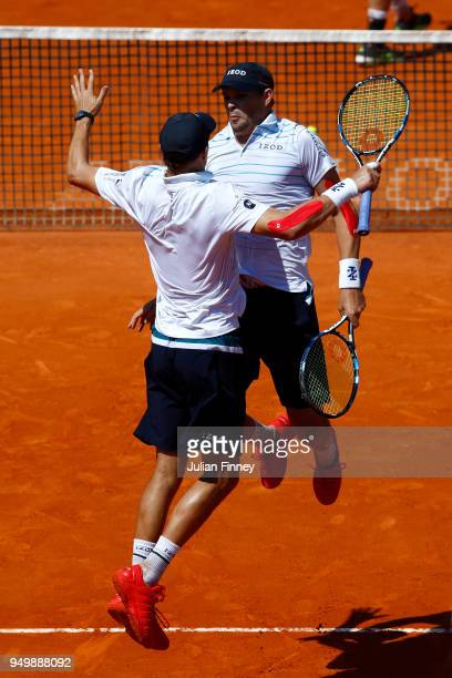 Bob and Mike Bryan of USA celebrate their victory over Oliver Marach of Austria and Mate Pavic of Croatia in the doubles final during day eight of...