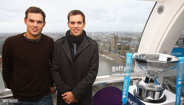 Bob and Mike Bryan of USA pose for a photo at the Barclays ATP World Tour Finals Player Draw on the London Eye on November 18 2009 in London England...
