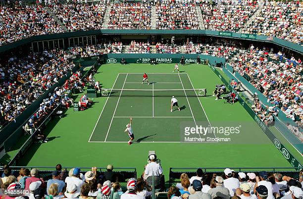 Bob and Mike Bryan play Max Mirnyi and Vladimir Voltchkov of Belarus during the semifinals of the Davis Cup on September 25 2004 at the Family Circle...