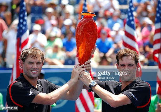 Bob and Mike Bryan pose with their trophy after defeating Gilles Muller of Luxembourg and Colin Fleming and Great Britain during the BBT Atlanta Open...