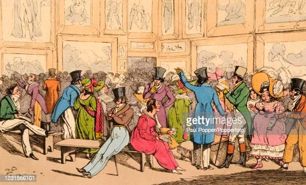 Bob and Tom join patrons of an art exhibition at Somerset House, one of a series of vintage coloured engravings contained in Volumes I and II of...