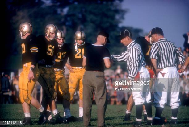 Bob Anderson and Harry Walters of the Army Cadets waits for the referees during an NCAA game against the Penn State Nittany Lions on October 4 1958...