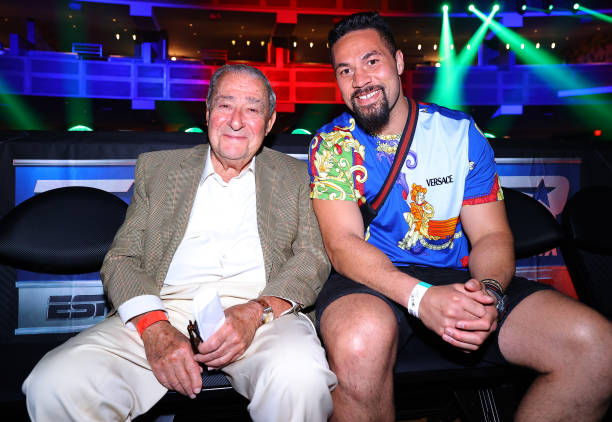 Bob Arum and Joseph Parker attend fight night between Vasiliy Lomachenko v Masayoshi Nakatani at Virgin Hotels Las Vegas on June 26, 2021 in Las...