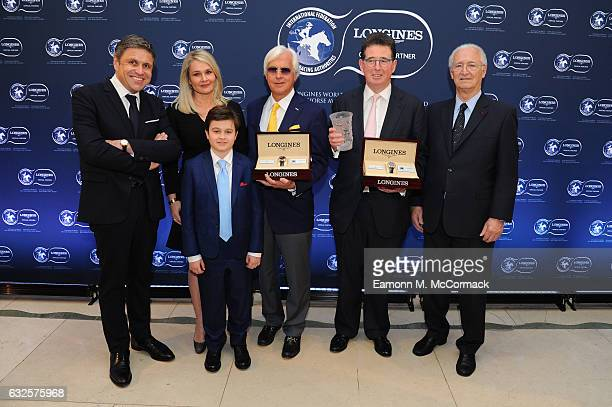 Bob Baffert and Lord Teddy Grimthorpe receive the Longines World's Best Horse Award from Mr. Juan-Carlos Capelli , Vice President of Longines and...