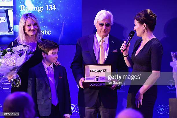 Bob Baffert receives the Longines World's Best Horse Award from with Jill Baffert Bode Baffert and Liz Price during the Longines Awards at Claridge's...