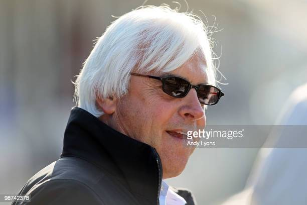 Bob Baffert the trainer of Lookin at Lucky and Conveyance is pictured in the barn area during the morning workouts for the Kentucky Derby at...