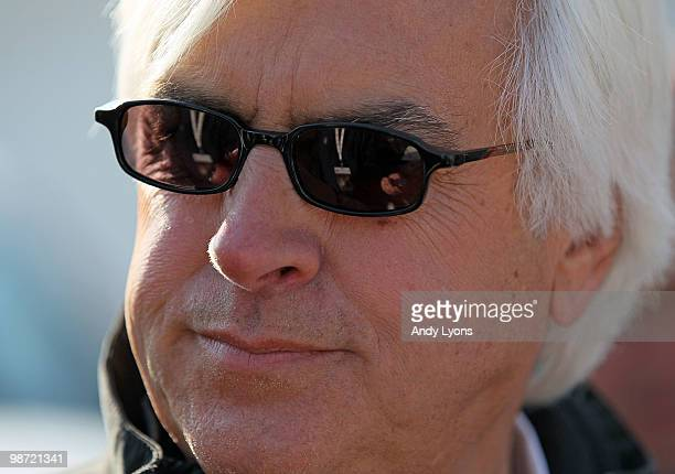 Bob Baffert the trainer of Lookin at Lucky is pictured in the barn area during the morning workouts for the Kentucky Derby at Churchill Downs on...