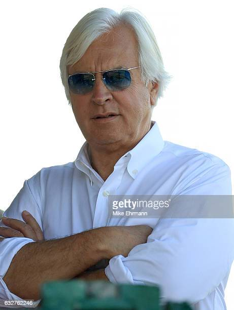 Bob Baffert, trainer of Arrogate looks on during a work out ahead of the $12 Million Pegasus World Cup at Gulfstream Park on January 26, 2017 in...