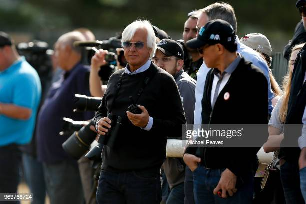 Bob Baffert, trainer of Triple Crown and Belmont Stakes contender Justify, looks on during morning training prior to the 150th running of the Belmont...