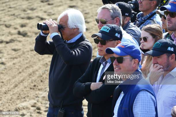 Bob Baffert trainer of Triple Crown and Belmont Stakes contender Justify watches Justify train prior to the 150th running of the Belmont Stakes at...
