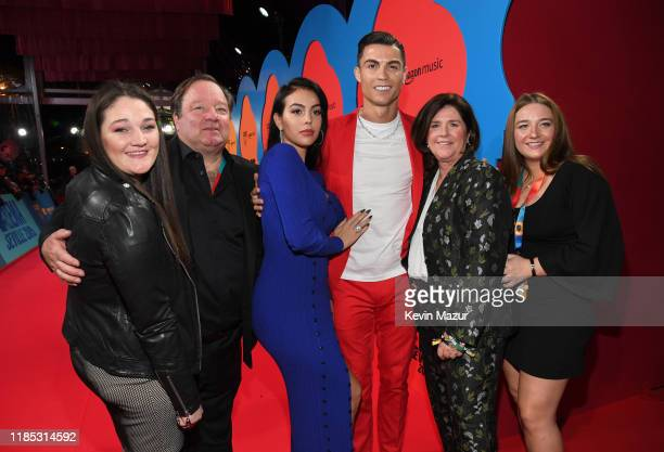 Bob Bakish Georgina Rodriguez Cristiano Ronaldo and guests attend the MTV EMAs 2019 at FIBES Conference and Exhibition Centre on November 03 2019 in...